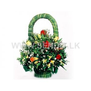 Pan Handle Arrangement with Twelve Mixed Roses