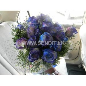 Blue tinted rose bunch