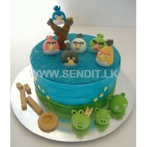Angry Birds Shaped Ribbon cake