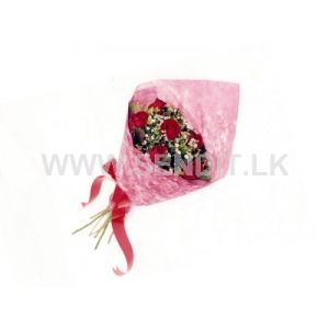 Six Red Roses wrapped in Rice Paper